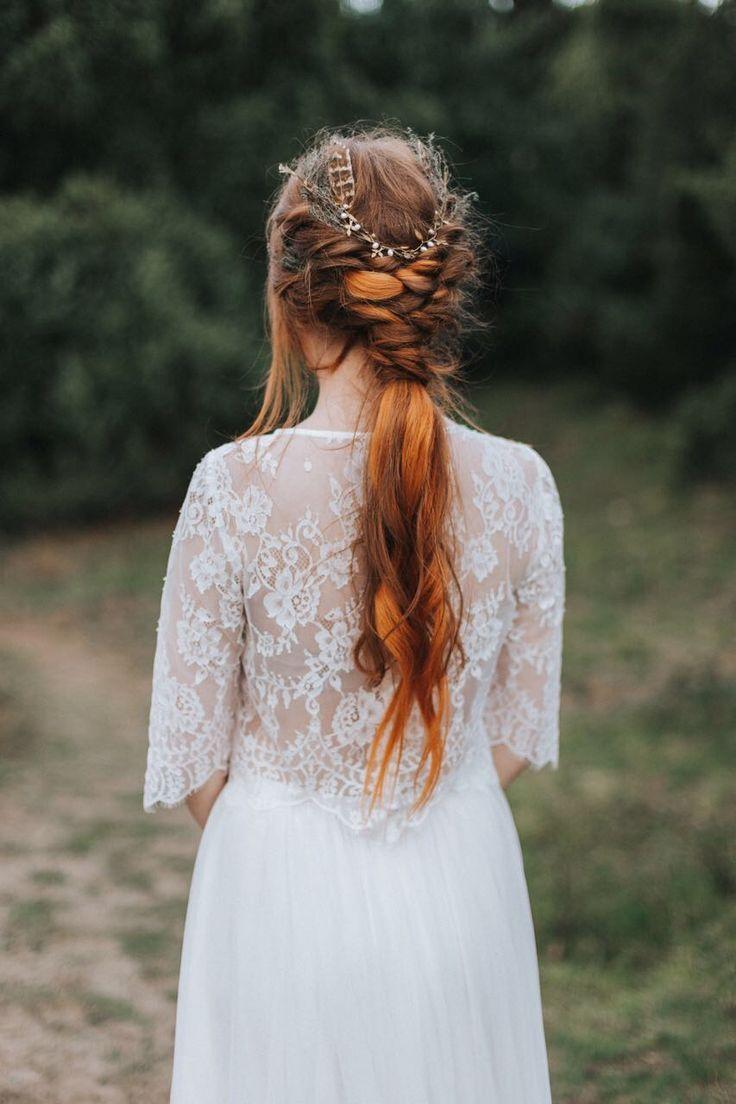 Boho Brautkleid Zweiteiler Vintage Hochzeitskleid Brautkle