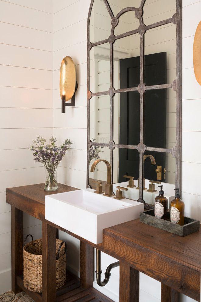 Powder room with shiplap walls, vessel sink, wood counter, rustic mirror | Palmetto Cabinet Studio