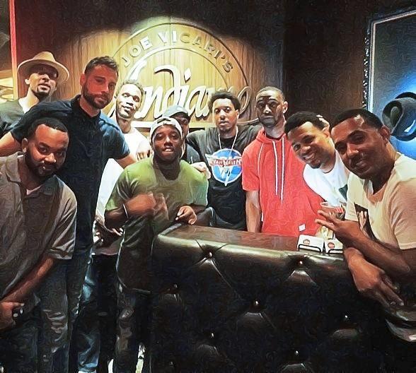 NBA stars Brandon Rush, Ian Clark, Mario Chalmers, Josh McRoberts and Jeremy Tyler dine at Andiamo Italian Steakhouse in the D Casino Hotel