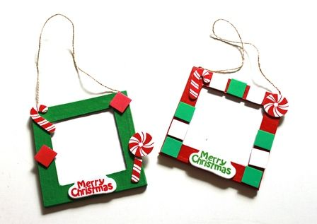Make these hanging frames this holiday season for yourself or to give to friends and loved ones. Great project for the kids too! These were made using Shamrock Craft's hanging frame square.