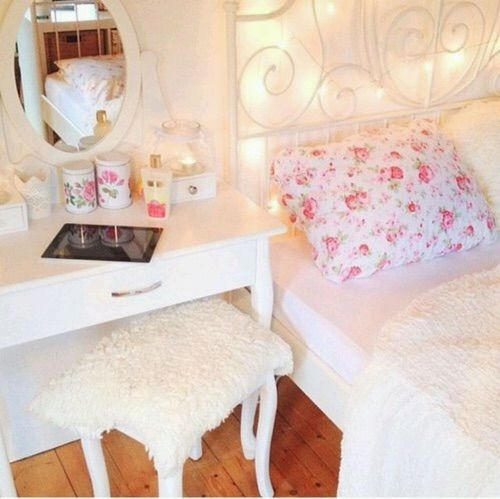 White and floral, dressing table
