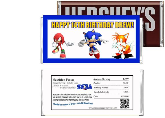 Sonic the Hedgehog Birthday Candy Wrappers Sega Sonic Party