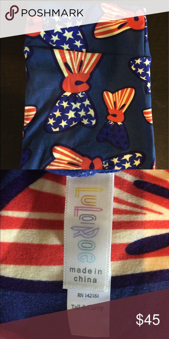 LuLaRoe Americana 2017 Royal Blue w/ Bow ties LuLaRoe Americana 2017 TC leggings Royal Blue w/ Bows ties Stars Stripes LuLaRoe Pants Leggings
