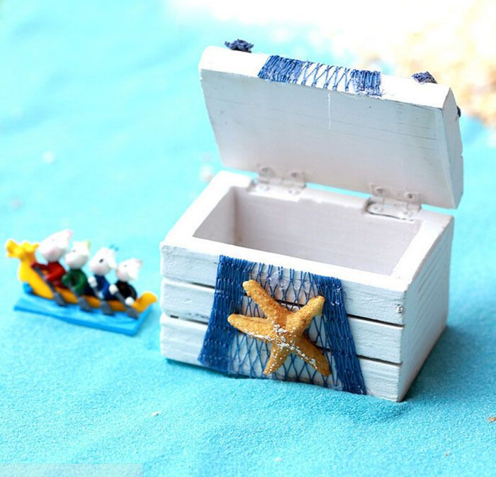 Mini box treasure chest medaterranein stile scatola bianca w/stella di mare blu netto marine ocean vintage decorazione domestica scrivania(China (Mainland))