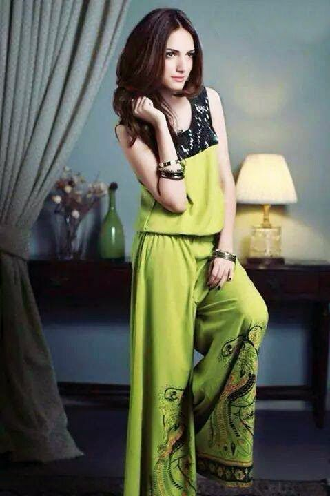 Green Designer plazo dress, the plazos are in the trend especially in the sub-continental regions