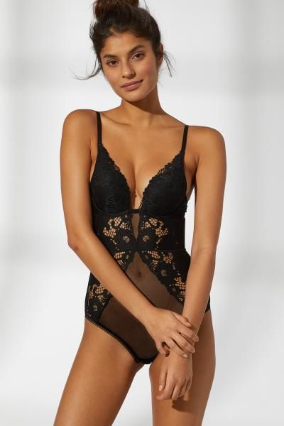 ebf10fab3 H M Lace Push-up Bodysuit - Black in 2019