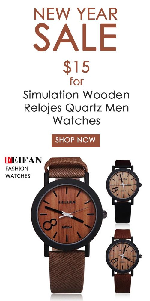 New Year Sale: Get Simulation Wooden Relojes Quartz Men Watch at just $15. Snap up now!
