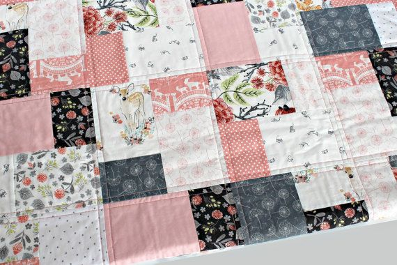 The modern baby quilt is handmade featuring pink & grey nursery prints. This little girl quilt will complement your coral nursery with a touch of woodland animals; A sweet fawn, an amusing goat among the flowers and if you look close you just might see a friendly little mouse here and there! You and your kiddo will love to snuggle in this Cotton and Minky quilt!  Little b Cotton Shoppe Quilts are constructed of a layer of high quality 100% Cotton prints on the front and a layer of…