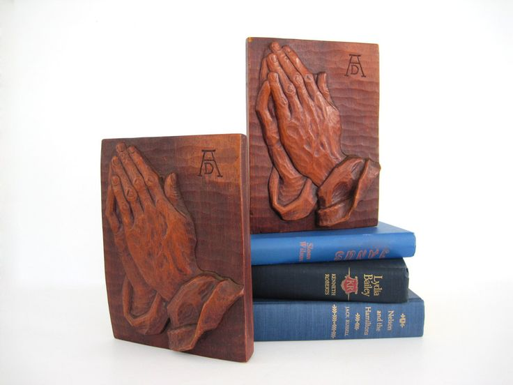Vintage Wooden Bookends Wood Praying Hands Wood Hand Book End Study for an Apostle Art Albrecht Durer Rustic Sculpture by BrooklynStVintage on Etsy