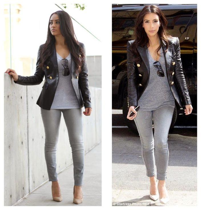 Maytedoll: Celebrity Look For Less: Kim kardashian Balmain Leather Blazer