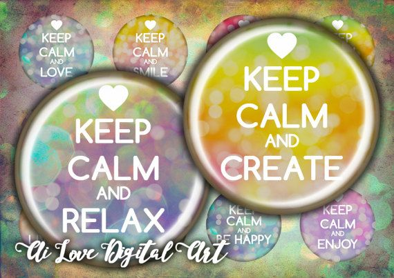 Digital collage sheets Keep Calm And  instant download 1.5 #keepcalmand #keepcalmquotes #digitalcollagesheetscircles