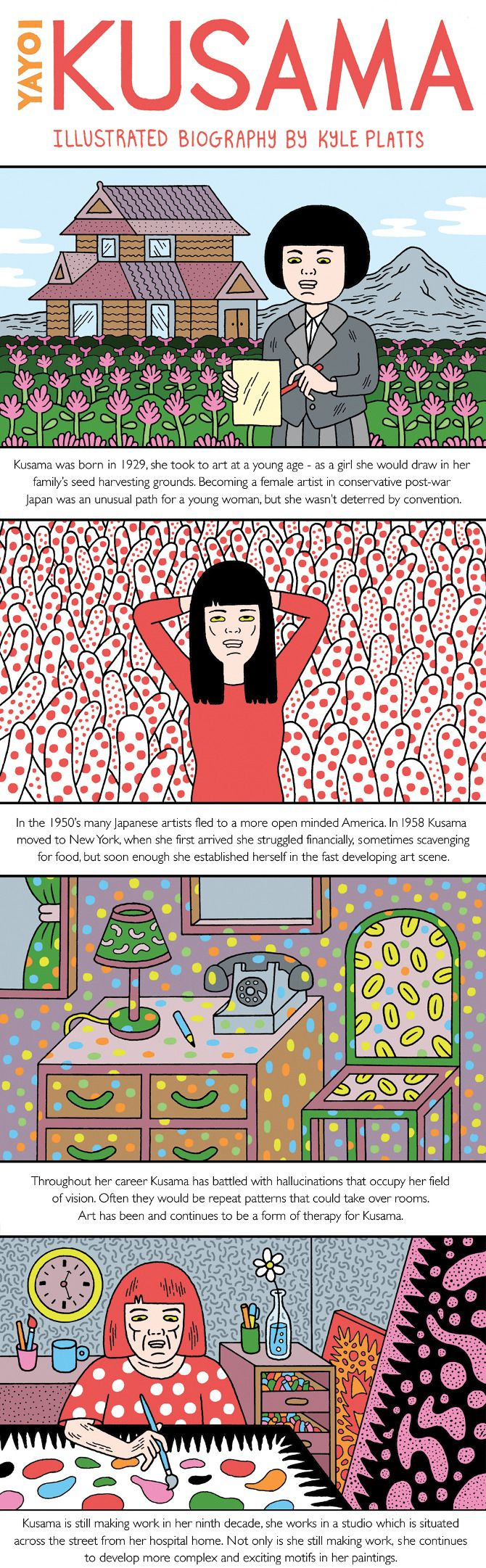yayoi kusama biography Biography born in 1929 in matsumoto, japan, kusama briefly studied painting in kyoto before moving to new york city in the late 1950s since her first solo show in her native japan in 1952, the artist's work has been featured widely in both solo and group presentations.