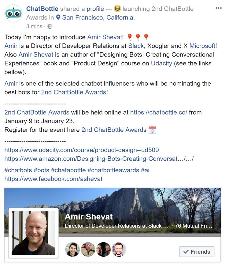 """Today I'm happy to introduce Amir Shevat! 🎈🎈🎈 Amir is a Director of Developer Relations at Slack, Xoogler and X Microsoft! Also Amir Shevat is an author of """"Designing Bots: Creating Conversational Experiences"""" book and """"Product Design"""" course on Udacity (see the links bellow).  Amir is one of the selected chatbot influencers who will be nominating the best bots for 2nd ChatBottle Awards!  ----------------------------- 2nd ChatBottle Awards will be held online at https://chatbottle.co…"""
