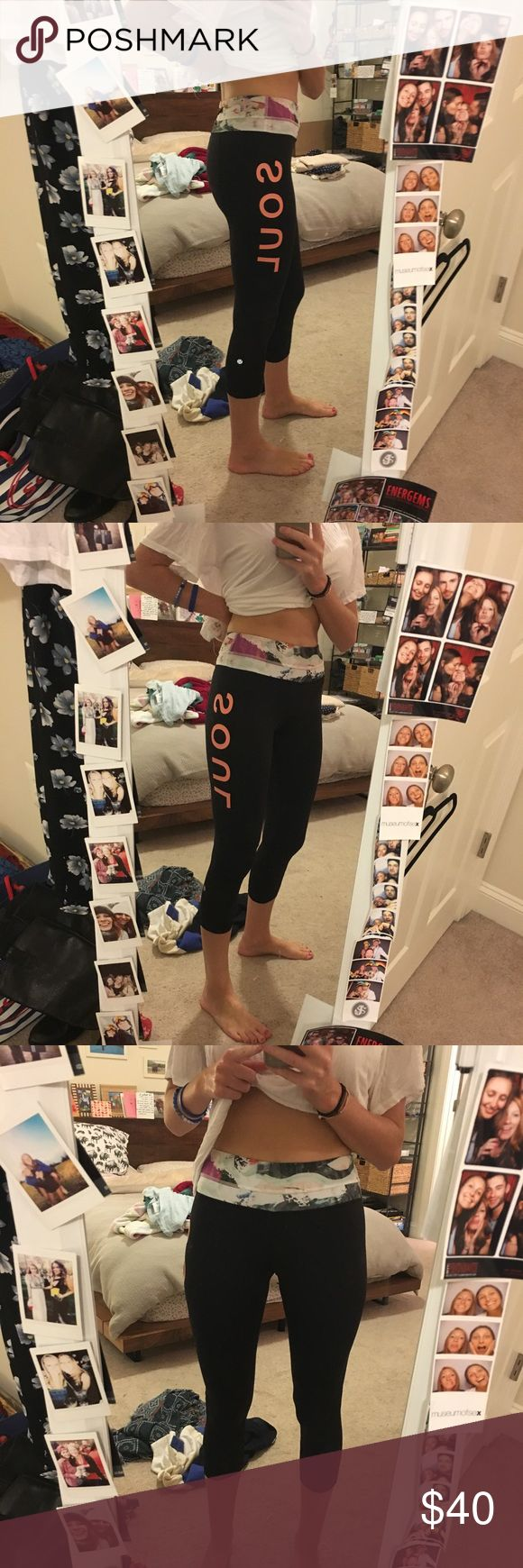 SoulCycle lululemon cropped leggings Floral band, mesh parts around the knees. Small pocket in the back of waistband. In like new condition!! Hardly worn. lululemon athletica Pants Leggings
