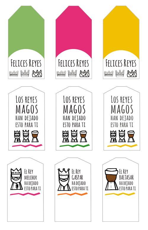 Dibujos para Colorear: Etiquetas para los regalos de Reyes Magos
