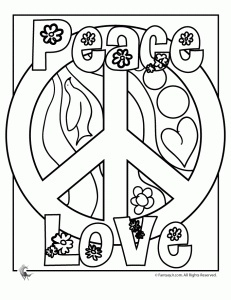 Peace Sign Coloring Pages  Being a true hippie chick at heart, I totally loved putting together these peace sign coloring pages. I thought they would be perfect for summer fun and also for 70s themed birthday parties  in fact, Im going to try and convince my youngest daughter to have a 70s birthday party just because it would be SO much fun to put together!