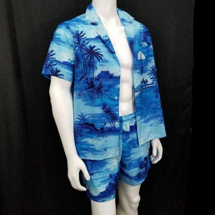 Vintage Casual Wear Hawaiian Cabana Set Blue Aloha shirt Swim Shorts mens L #CasualWear #Hawaiian #Casual