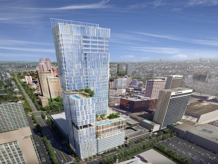 Rendering of new 30 story Galleria hotel and apartment high rise