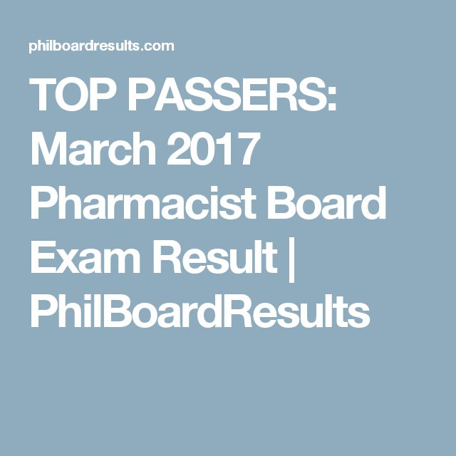 TOP PASSERS: March 2017 Pharmacist Board Exam Result | PhilBoardResults