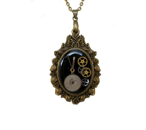 Steampunk Resin Pendant Necklace - Resin Filled Pendant With Real Watch Parts - Handmade Locket  Unique resin pendant with real watch parts, brass