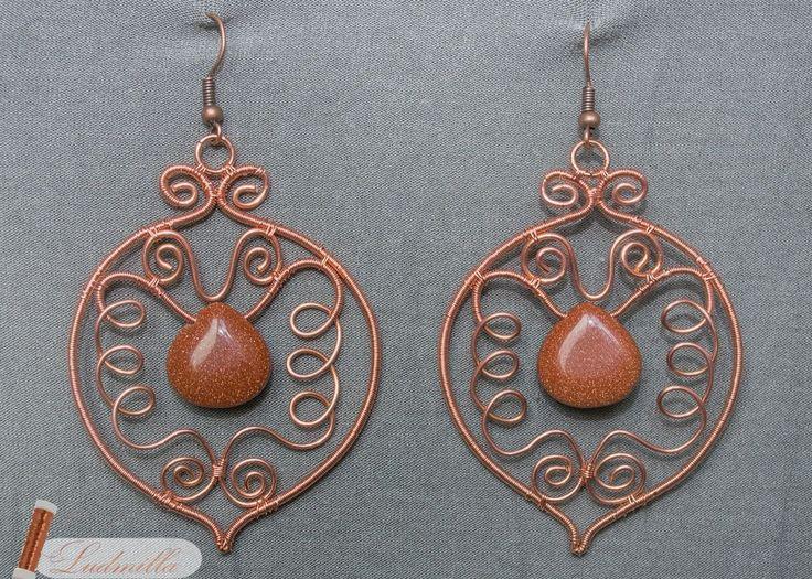 Oriental wire wrap earrings. Kolczyki w technice wire wrapping.