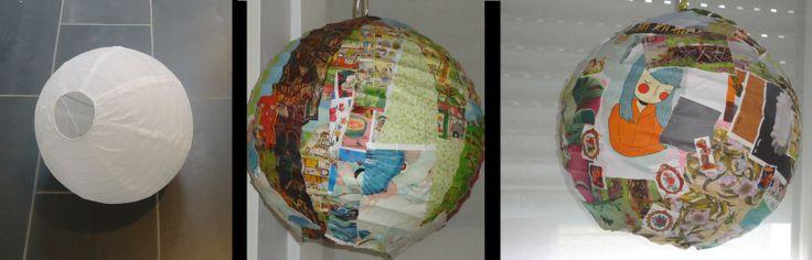 DIY versieren van papieren bol lampion bal wit
