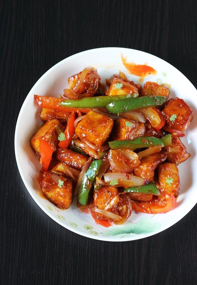 garnished chilli paneer recipe swasthis recipes