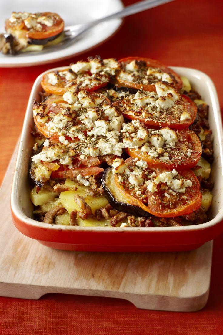 Ovenschotel met shoarma aubergine en tomaat