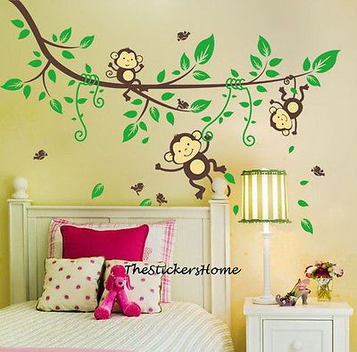 Cheeky Monkey Jungle Tree Wall Stickers Art Decal Baby Nursery Kid Bedroom Decor