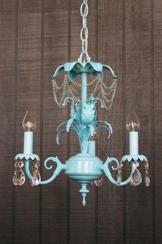 Blue Chandelier Shabby Chic Lighting By LightLady