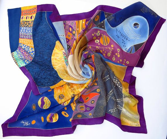 Klimt silk scarf. Natural silk Hand painted silk scarf by SilkMood