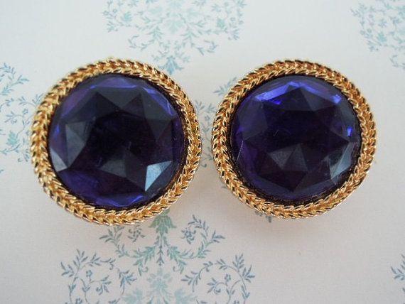 Orecchini vintage cristalli blu e oro di SenzaTempoJewelry su Etsy