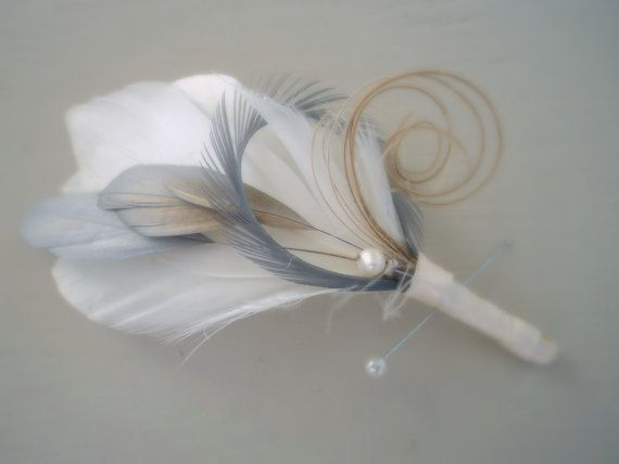 Silver and Ivory feather boutonniere, Grey and off white Wedding lapel pin, Bridal Accessory, Men's Lapel Pin, Custom made to order