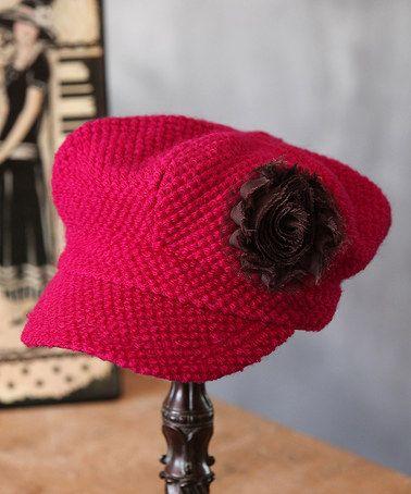 Another great find on #zulily! Raspberry Wool-Blend Newsboy Cap #zulilyfinds