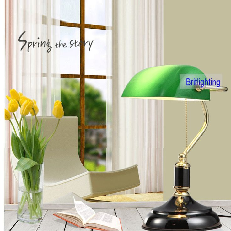 green glass lampshade Classical Bank Lamp 1 Light black Desk Lamp pull cord switch reading light ajustable desk lamp table light #Affiliate