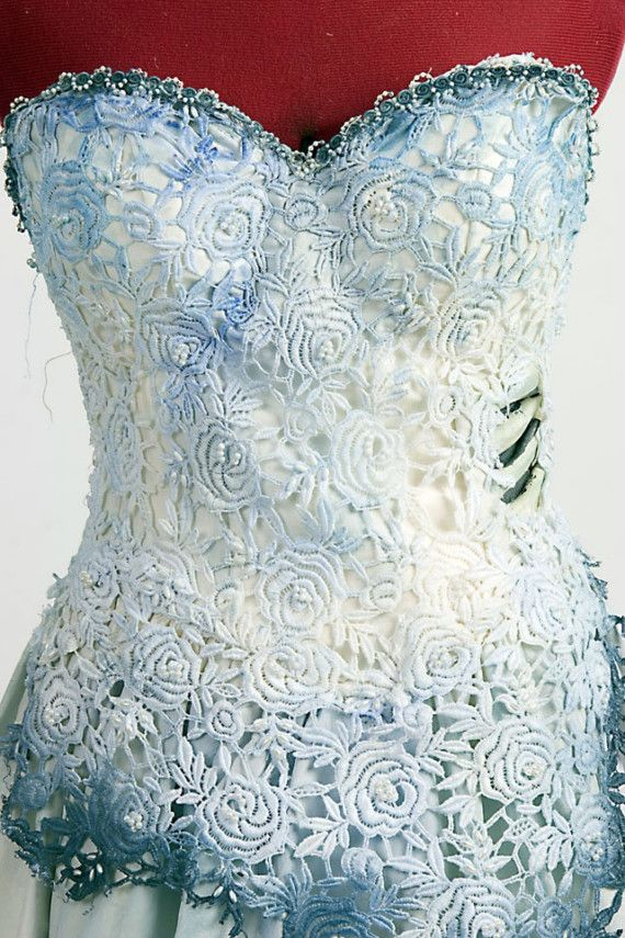 A beautiful re-creation of Tim Burtons The Corpse Bride dress worn by The Bride (Emily). It can be customized for a costume or even a unique