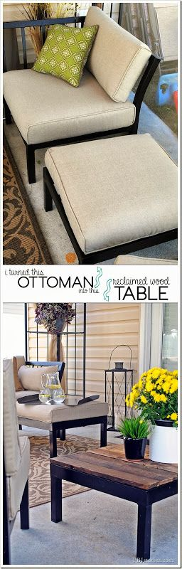 How to make an Interchangeable Ottoman to Pallet Table Top #patiodecor #diy