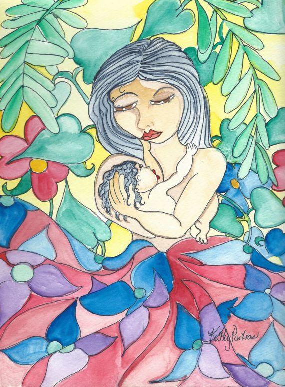 maternal watercolor painting tropical setting original by PiskyArt