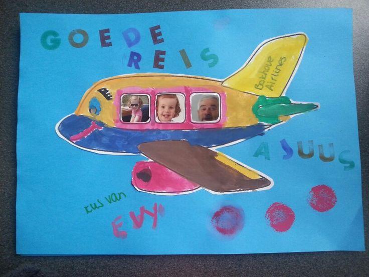 Opa gaat op reis, daarom een #knutselwerkje gemaakt met thema #vliegtuig. Goede reis lieve opa! Ajuus! #kleurplaat #verf #foto #missknutsel