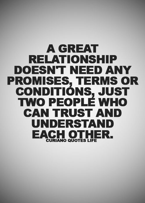 A Great Relationship Doesn't Need Any Promises, Terms Or Conditions, Just Two People Who Can Trust And Understand Each Other.