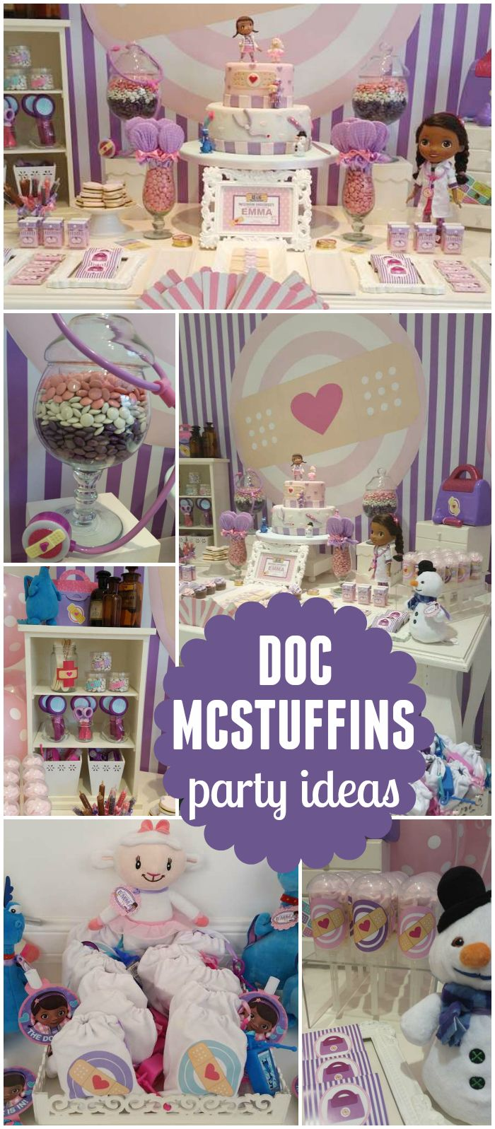 How cute is this pink and purple Doc McStuffins party?! See more party ideas at CatchMyParty.com!