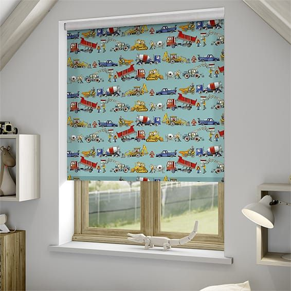 Builders At Work Teal Roller Blind Teal Roller Blinds Roller