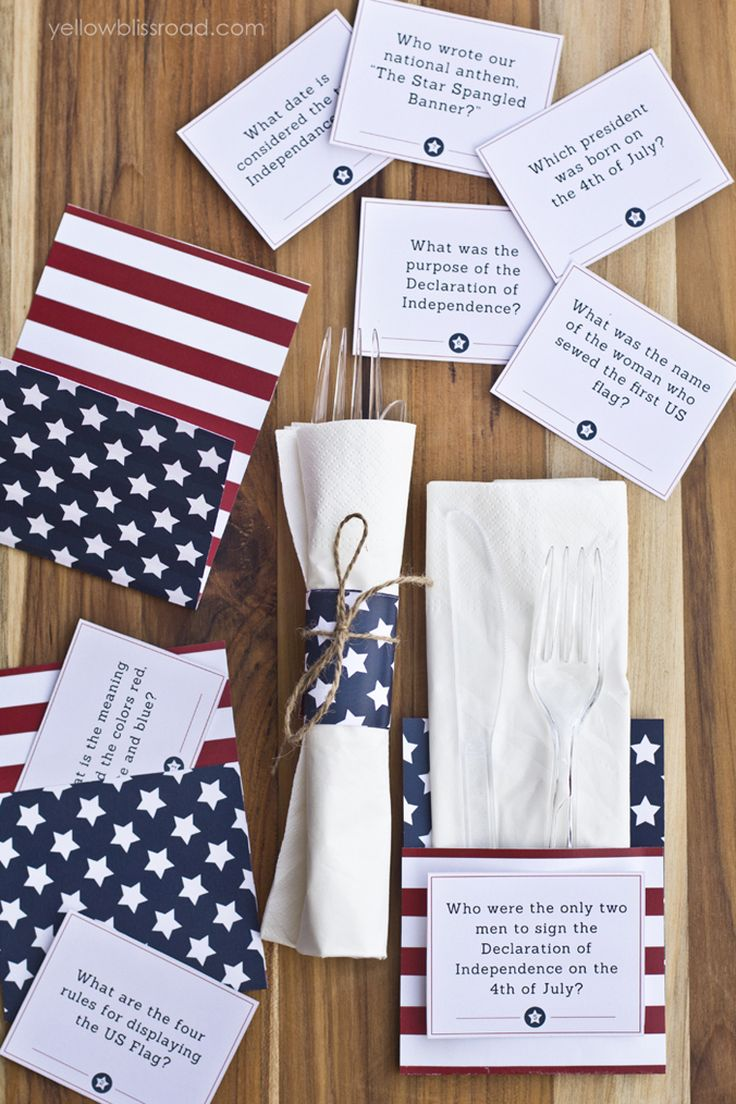 Free Printable 4th of July Trivia Cards & Utensil Holders - Yellow Bliss Road