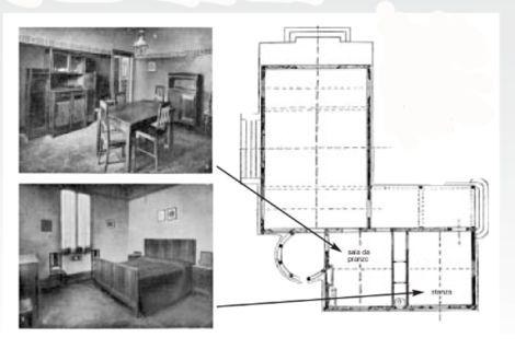 Vecchie case per famiglie operaie  in Italia  Pianta del Padiglione della Società Umanitaria all'Expo di Milano del 1906. In basso a destra erano collocate i locali operai: la cucina – sala da pranzo e la camera da letto