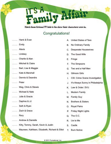 Printable Games For Family Reunion Fun