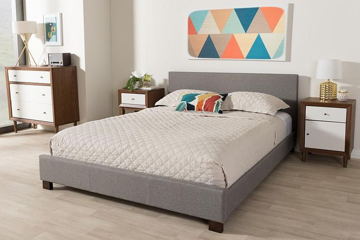 Baxton Studio Elizabeth Grey Upholstered Panel-Stitched Full Size Platform Bed
