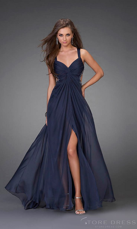 A-line Halter Floor-length Chiffon Evening Dress at Promgirlshop.com