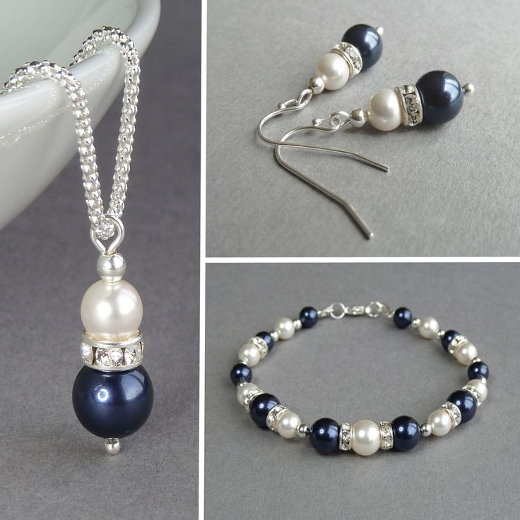 Navy Pearl Jewellery Set - Dark Blue Pearl and Crystal Jewelry - Navy and Ivory Pearl Necklace, Bracelet and Earrings - Wedding Jewellery by annakingjewellery on Etsy https://www.etsy.com/listing/208524151/navy-pearl-jewellery-set-dark-blue-pearl