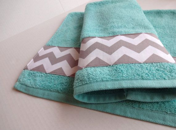 Grey Chevron and Aqua towel set, set of 2, hand towel, aqua bathroom, grey chevron, chevron towels, towel set. bathroom decor, aqua and grey...