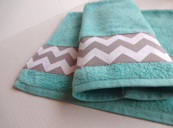 Grey Chevron and Aqua towel set, set of 2, hand towel, aqua bathroom, grey chevron, chevron towels, towel set. bathroom decor, aqua and grey...